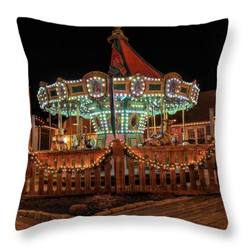 Throw Pillow featuring the photograph Smithville Carousel At Night by Kristia Adams