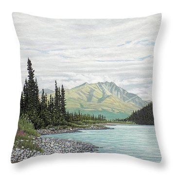 Throw Pillow featuring the painting Snake River Yukon by Kenneth M Kirsch