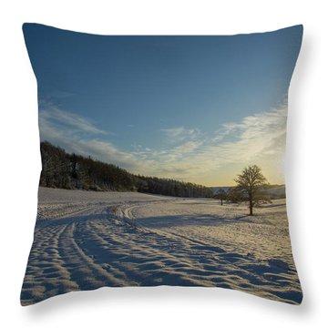 Snow And Sunset Throw Pillow