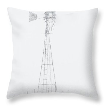 Throw Pillow featuring the photograph Snow And Windmill 04 by Rob Graham