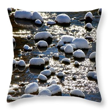Snow Covered Rocks Throw Pillow