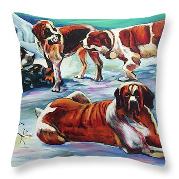 Snow Dogs Throw Pillow