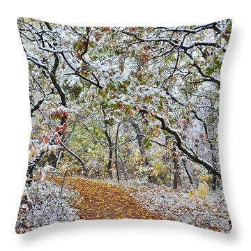 Snow Greets Autumn Throw Pillow