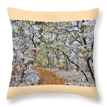 Snow Greets Autumn Throw Pillow