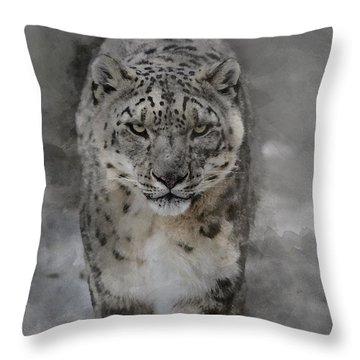 Throw Pillow featuring the photograph Snow Leopard II by Brad Allen Fine Art