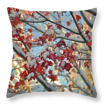 Snow On Maple Leaves Throw Pillow