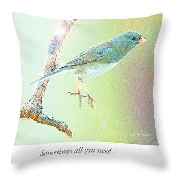 Snowbird Jumps From Tree Branch Throw Pillow