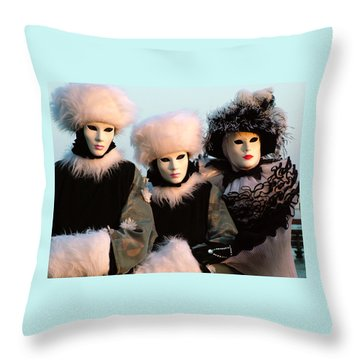 Throw Pillow featuring the photograph Snowbirds With Hand Warmers by Donna Corless