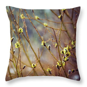 Snowfall On Budding Willows Throw Pillow