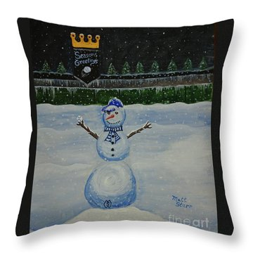 Snowman On The Hill At The K Throw Pillow