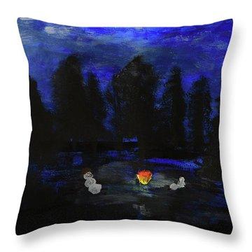 Snowmen Enjoy The Campfire  Throw Pillow
