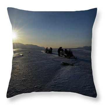 Snowmobile Expeditions Throw Pillow