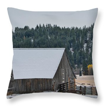 Snowy Barn Yellow Tree Throw Pillow