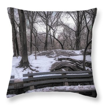 Snowy Benches Throw Pillow