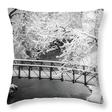 Snowy Bridge On Mill Creek Throw Pillow