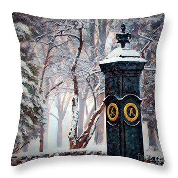 Snowy Keeneland Throw Pillow