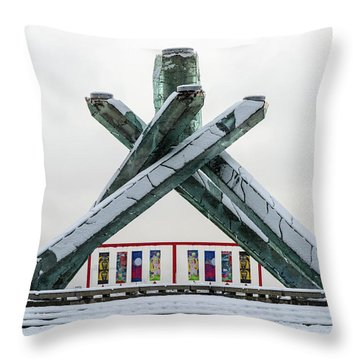 Snowy Olympic Cauldron Throw Pillow