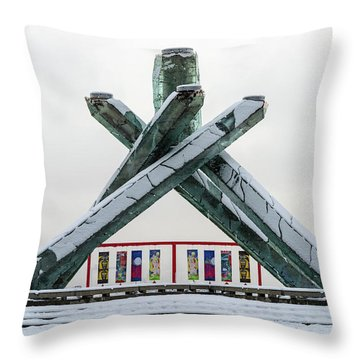 Throw Pillow featuring the photograph Snowy Olympic Cauldron by Ross G Strachan