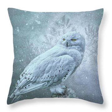 Snowy Owl In Winter Throw Pillow