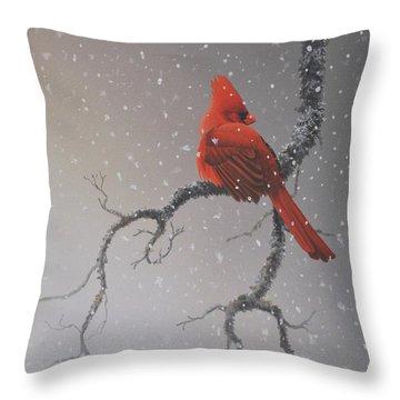 Snowy Perch Throw Pillow