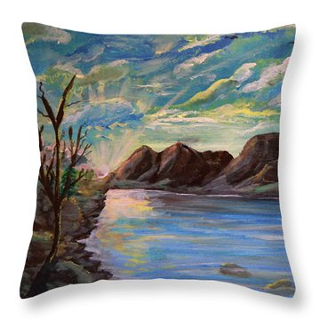 Snowy Range And Lookout Lake Throw Pillow