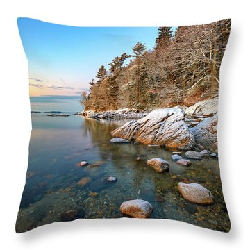 Snowy Shoreline In Wolfe's Neck Woods Throw Pillow