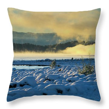 Snowy Shoreline Sunrise Throw Pillow