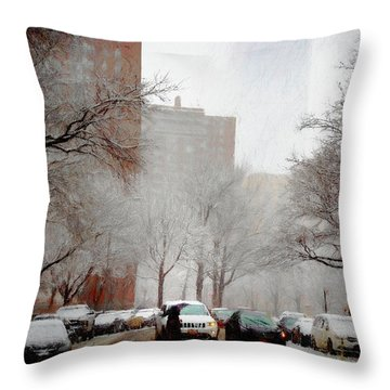 Snowy Street Scene Throw Pillow