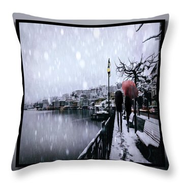 Snowy Walk Throw Pillow