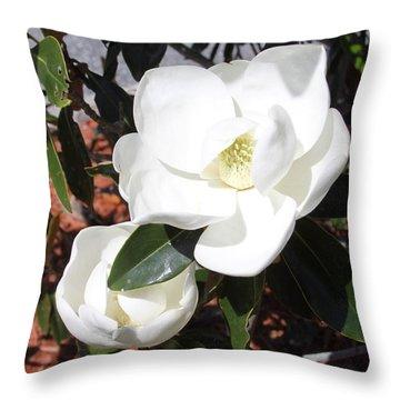 Snowy White Gardenia Blossoms Throw Pillow