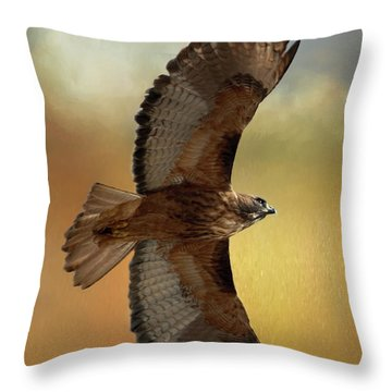 Soaring Hawk Throw Pillow