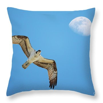 Soaring Osprey And Gibbous Moon Throw Pillow