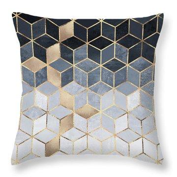Soft Blue Gradient Cubes Throw Pillow