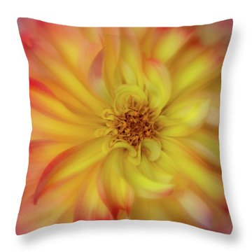 Throw Pillow featuring the photograph Soft Curves Dahlia by Mary Jo Allen