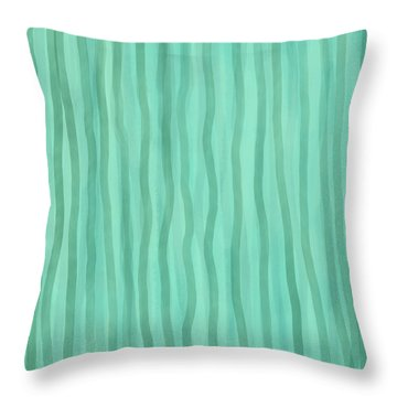 Soft Green Lines Throw Pillow