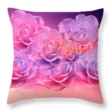 Throw Pillow featuring the mixed media Soft Roses Art Work by Johanna Hurmerinta