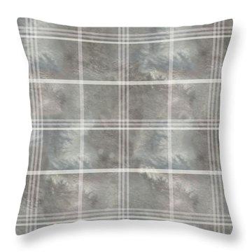 Soft Textured Cream And Blue Plaid Throw Pillow