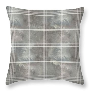 Soft Textured Cream And Blue Plaid Throw Pillow