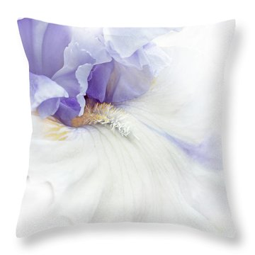 Softness Of A Lavender Iris Flower Throw Pillow