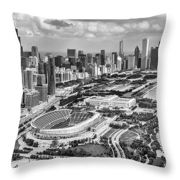 Throw Pillow featuring the photograph Soldier Field And Chicago Skyline Black And White by Adam Romanowicz