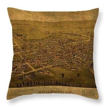 Somerville New Jersey Vintage City Street Map 1882 Throw Pillow