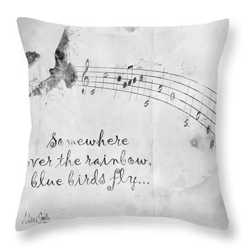 Somewhere Over The Rainbow In Black And White Throw Pillow