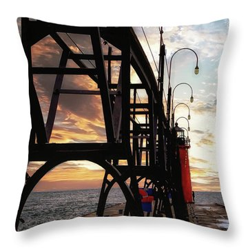 Throw Pillow featuring the photograph South Haven Pier Sunset by Lars Lentz