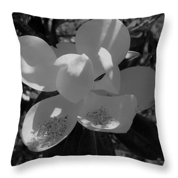 Southern Magnolia In Black And White Throw Pillow
