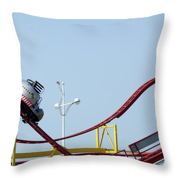 Southport.  The Fairground. Crash Test Ride. Throw Pillow