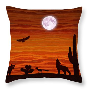 Southwest Desert Silhouette Throw Pillow