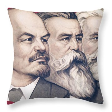 Soviet Propaganda Banner With Likenesses Of Lenin, Engels, And Marx Throw Pillow