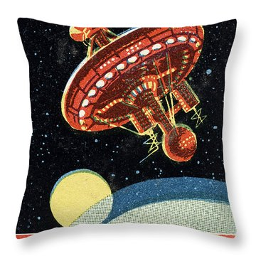 Soviet Space Station Throw Pillow