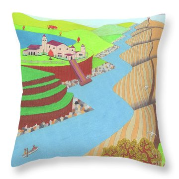 Throw Pillow featuring the drawing Spanish Wells by John Wiegand