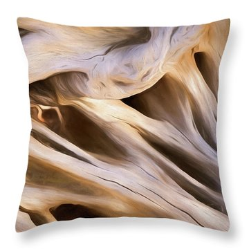 Throw Pillow featuring the mixed media Spare Root 3 by Lynda Lehmann